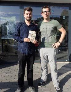Kamil Bałuk i Jarek Danielak podczas festiwalu reportażu Miedzianka Fest