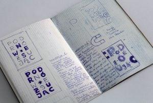 Projekt książki Podróżując - szkic